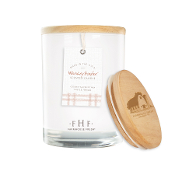 Farmhouse Fresh Whiskey Bonfire Candle with Wooden Lid