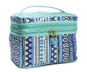 Modella Indigo Hues Fitted Double-Zip Train Case + Travel Bottles